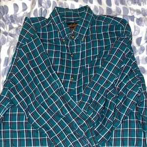 Eddie Bauer Green Striped Loose Fit Casual Shirt